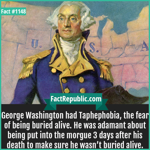 1148. George Washington-George Washington had Taphephobia, the fear of being buried alive. He was adamant about being put into the morgue 3 days after his death to make sure he wasn't buried alive.