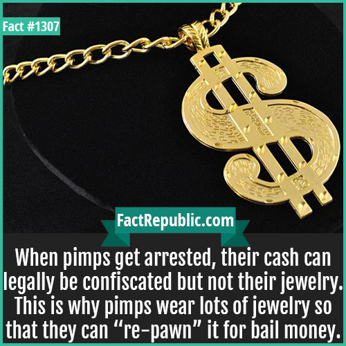 """1307. Pimp Gold-When pimps get arrested, their cash can legally be confiscated but not their jewelry. This is why pimps wear lots of jewelry so that they can """"re-pawn"""" it for bail money."""