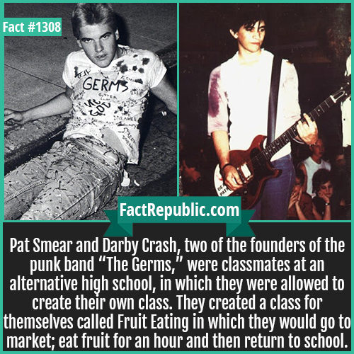"""1308. Pat Smear Darby Crash Germs-Pat Smear and Darby Crash, two of the founders of the punk band """"The Germs,"""" were classmates at an alternative high school, in which they were allowed to create their own class. They created a class for themselves called Fruit Eating in which they would go to market; eat fruit for an hour and then return to school."""