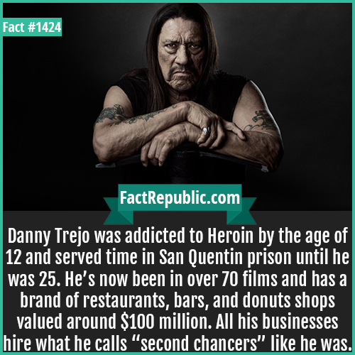 "1424. Danny Trejo-Danny Trejo was addicted to Heroin by the age of 12 and served time in San Quentin prison until he was 25. He's now been in over 70 films and has a brand of restaurants, bars, and donuts shops valued around $100 million. All his businesses hire what he calls ""second chancers"" like he was."