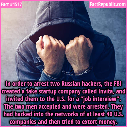 "1517. Russian Hackers-In order to arrest two Russian hackers, the FBI created a fake startup company called Invita, and invited them to the U.S. for a ""job interview"". The two men accepted and were arrested. They had hacked into the networks of at least 40 U.S. companies and then tried to extort money."