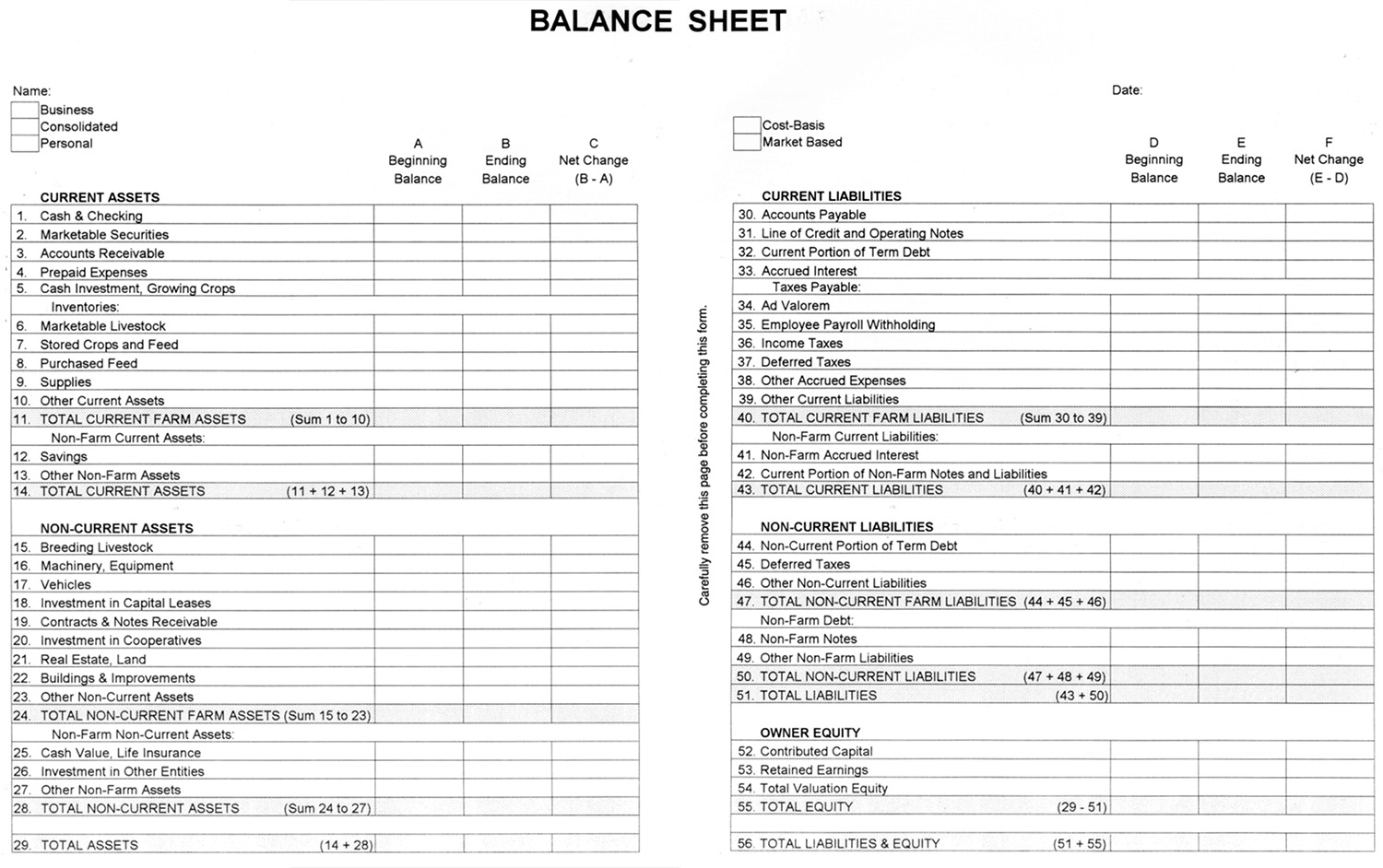 Agec 752 Developing A Balance Sheet Osu Fact Sheets