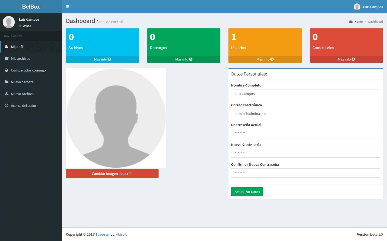 BELBOX V1.5 - Sistema web para compartir archivos desarrollado con ...