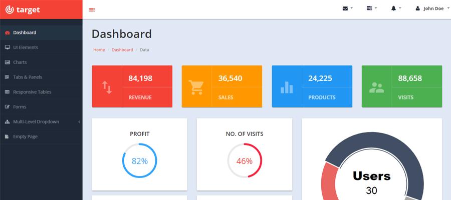 Target - Plantilla gratis Bootstrap de administración - Facturación Web