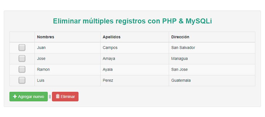 Eliminar múltiples registros con PHP & MySQLi - Facturación Web