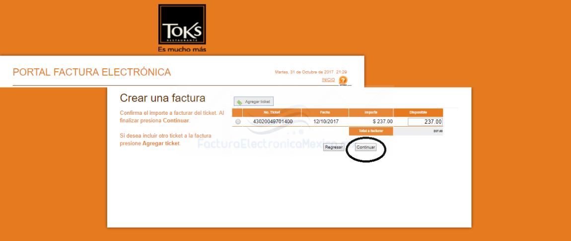 restaurantes toks facturación electrónica