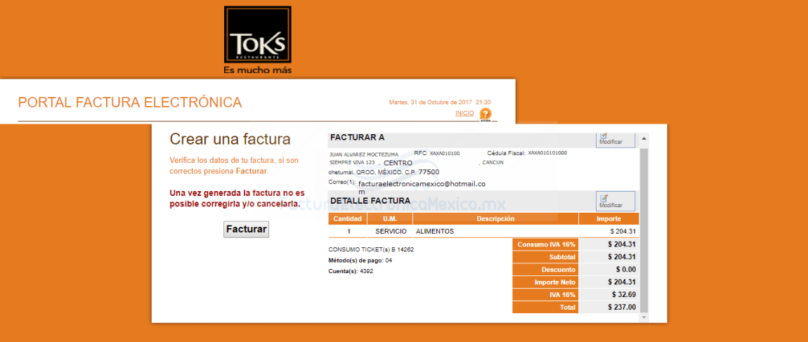 facturacion ticket toks