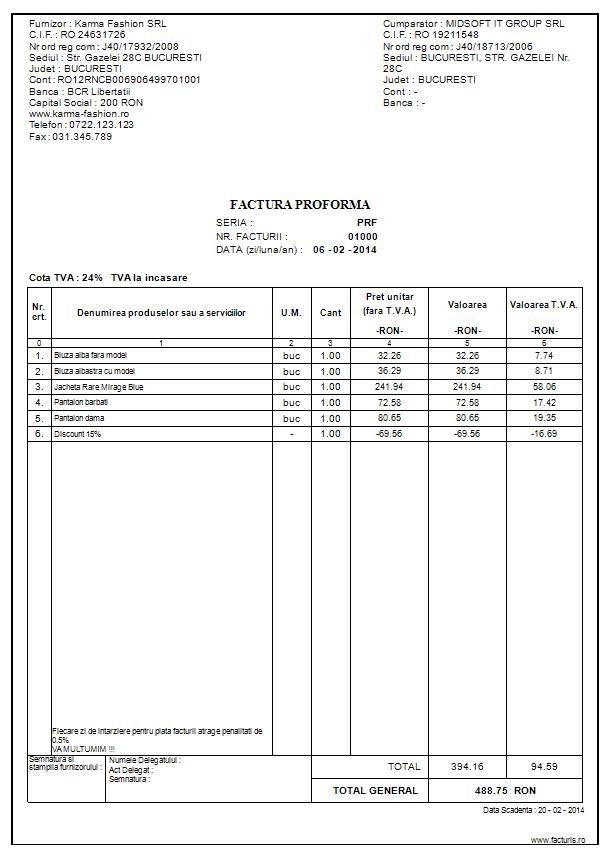 factura proforma modele facturi proforme program de facturare si