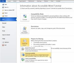 Microsoft Office Accessibility Checker