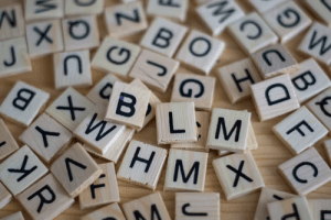 Scrabble tiles with different letters