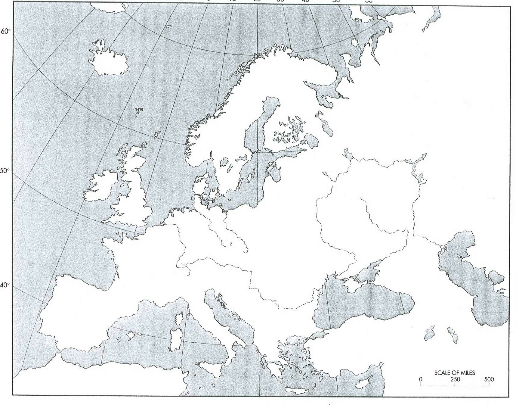 Blank Physical Map Of Europe Quiz