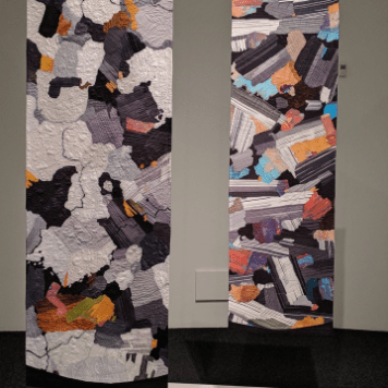 The Contact: Cross Polarized Granite (left, 2015) and Cross Polarized Gabbro (right, 2014)