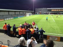 Scott Boden celebrates what turns out to be the winning goal with the County fans