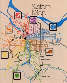 TriMet system map showing sector symbols