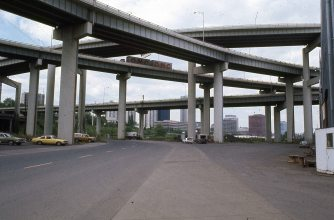 Marquam Bridge from SW Moody St. May 1977
