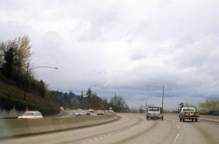 I-5 North at Terwilliger Curves. 1974