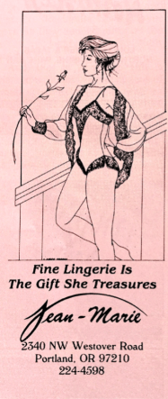 """Excellent linework in this Jean Marie advert, found in a hotel book titled """"Portland and the Pacific Northwest"""" 1988"""