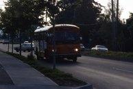 Powell Blvd., 1986. Old Rose City Transit bus.