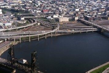 Looking at I-5, I-84 interchange. 1977