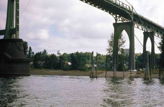 St. Johns Bridge from Willamette River. Portland, OR. 1975