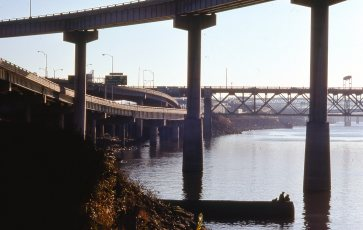 A combined sewer overflow pipe on the Willamette. October, 1977