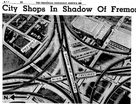 Proposed terminus of Fremont Bridge showing full interchange never completed. (1966, Mar 9). Oregonian, p. 26...