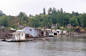 Abandoned lumber operations on the Willamette. Portland, OR. 1977