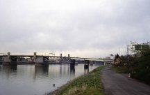 Future site of Eastbank Esplanade, looking North from Hawthorne Br. area. Portland, OR. April 1980