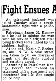 Martin's attack of his wife in 1950 was notiable enough to warrent mention in the daily newspaper.