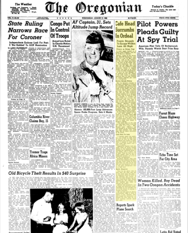 The death was juicy enough to make the front page of the O on August 17, 1960.