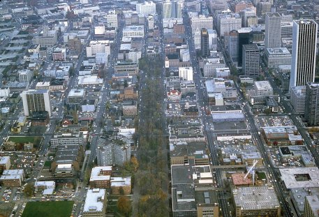 South Park Blocks, Portland aerial, 1980
