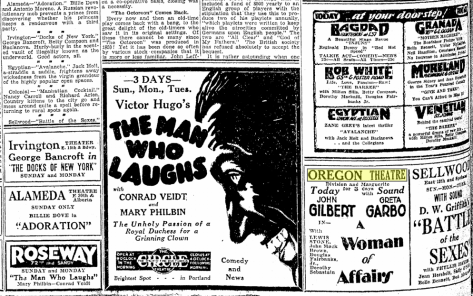 "Seven months prior to the stock market crash of 1930, ""A Woman of Affairs"" was playing The Oregonian, March 24, 1929"