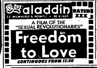 Film titles were slightly more romantic. (1970, Oct 24). The Oregonian, p. 11.