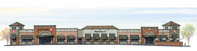 North Elevation: Hawthorne Safeway 2010. A 55,000 sq ft store unconvincingly disguised as a row of pleasant shoppes.
