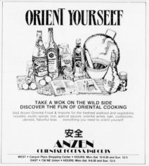 """""""Take A Wok on The Wild Side, Discover The Fun of Oriental Cooking"""" Ad from Willamette Week, Portland, OR. 1987"""