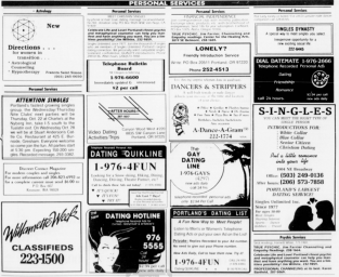 Personal Services section from the Willamette Week. Portland, OR. 1987