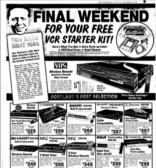 Tom Peterson's VCR advert, The Oregonian. October, 1984