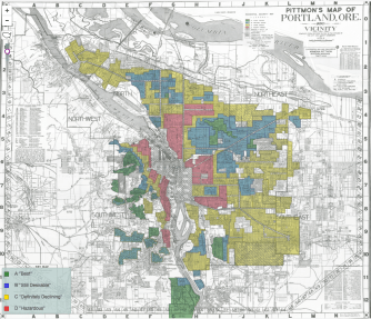 "Map created by Home Owner's Loan Corp. indicating ""risk"" of Portland neighborhoods. May, 1938"