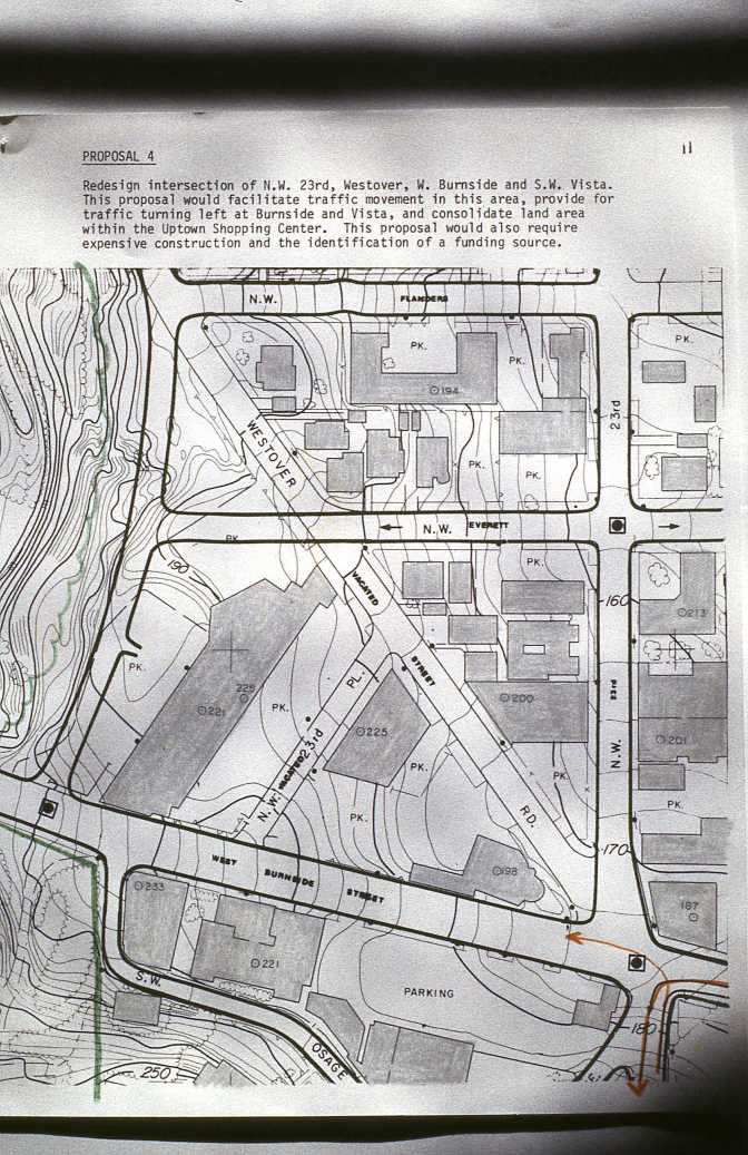 Proposed plan to realign streets near NW 23rd and Burnside. Portland, OR. 1980s