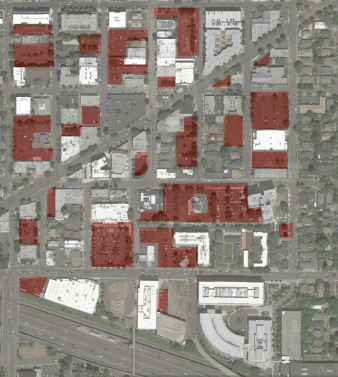Surface parking, Hollywood District. Portland, OR. 2016