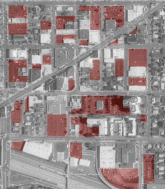 Surface parking, Hollywood District. Portland, OR. 1990