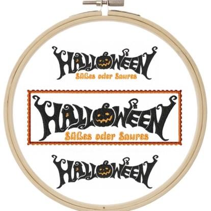 Halloween ITH Schrift Stickdatei