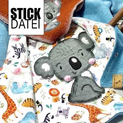 Doodle Stickdatei Koala Dschungel