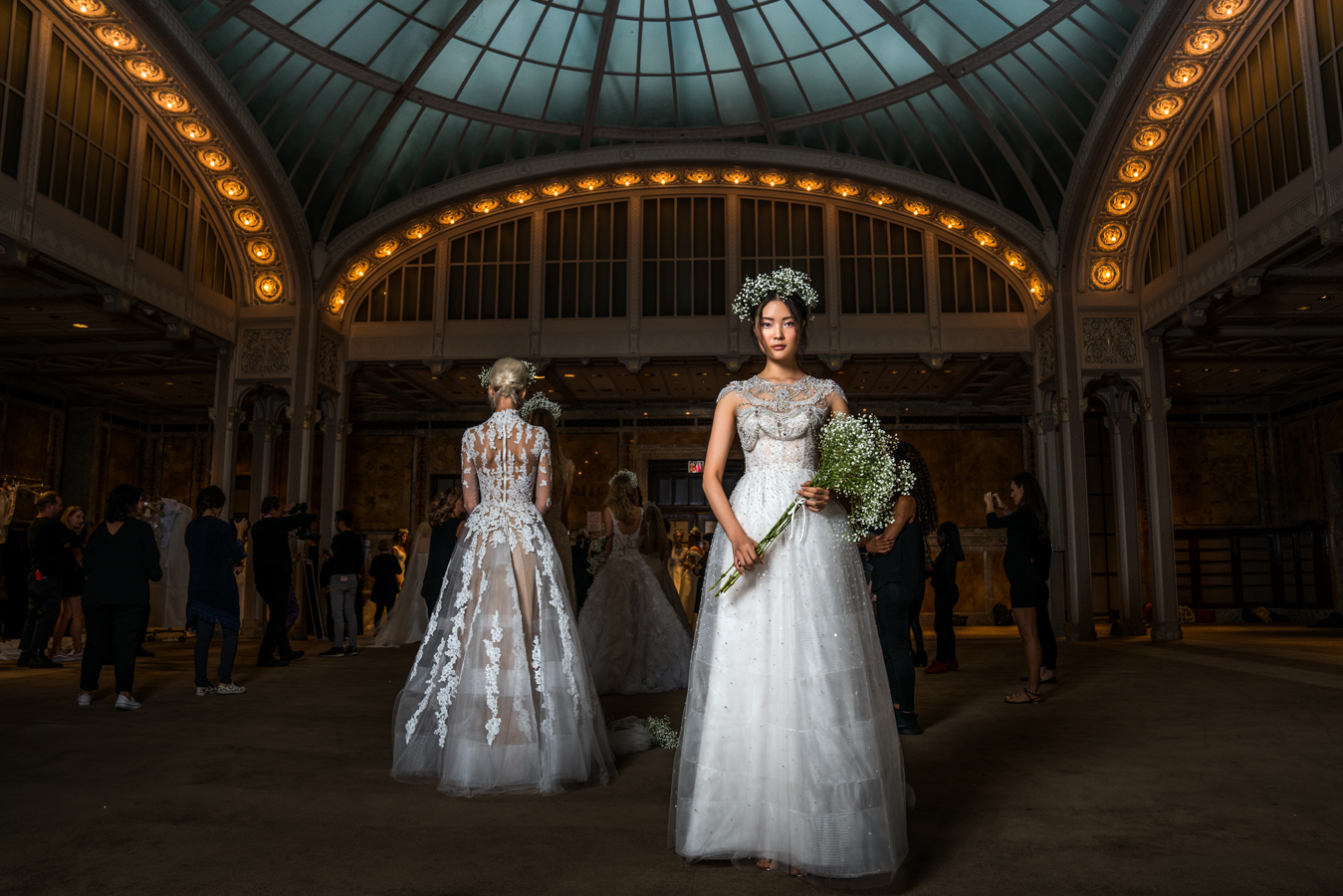 model in bridal gown at NYC Public Library