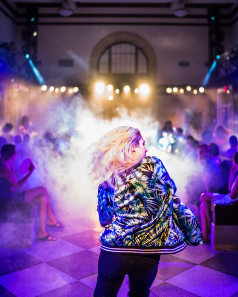 dancer in front of puff of mist