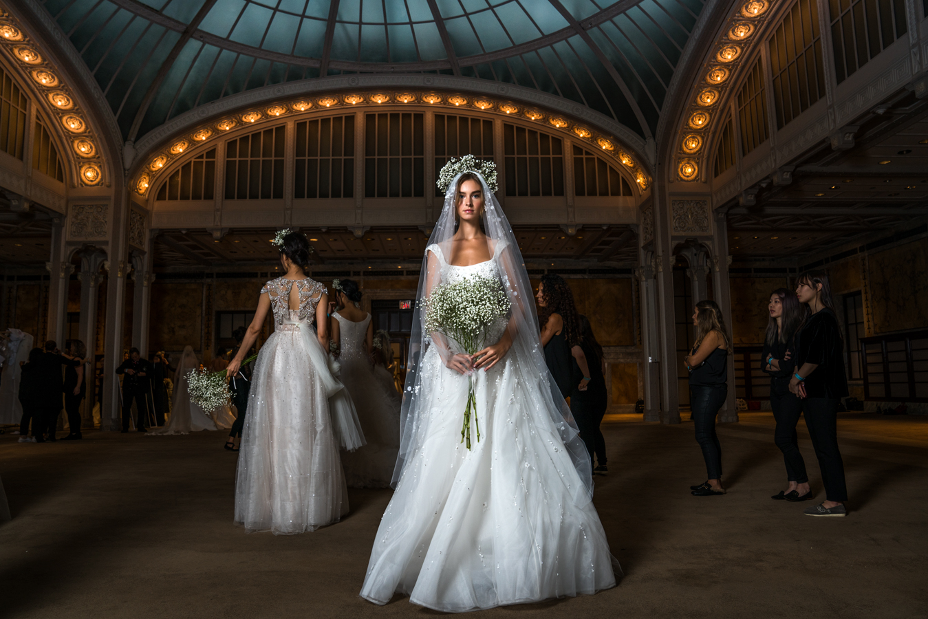 model in bridal gown at the NYC Public Library