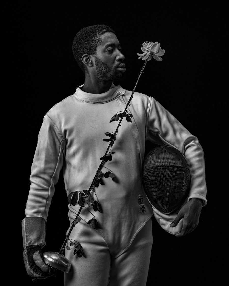 fencer with a flower