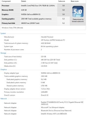 dv9700t windows experience score