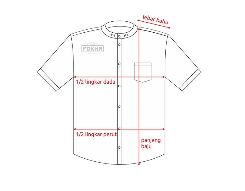 Koko Modern - Standar size Fadkhera - Lengan Pendek