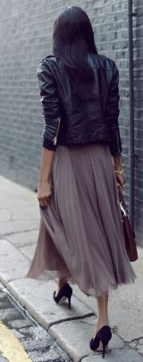 Grey Feminine Tulle Skirt worn with black leather and pumps   Chai High is an Indian Fashion Blog started by Shivani Krishan